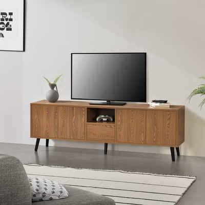 en.casa Lowboard, TV-Board, »Hedemora« Fernsehtisch 140x30x45,5 cm Unterschrank mit Ablage und 5 Schranktüren Dunkler Holzton