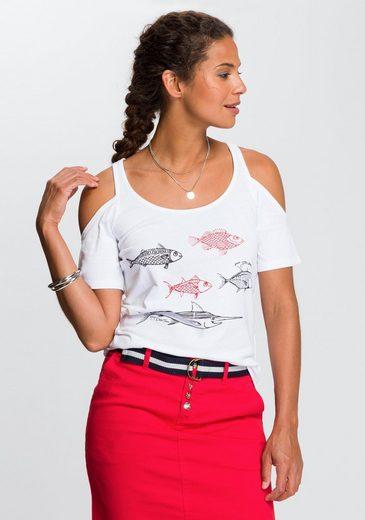 TOM TAILOR Polo Team T-Shirt mit modisch ausgeschnittenen Schultern