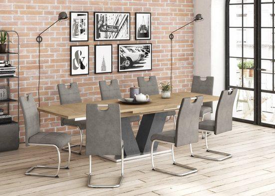Mäusbacher Esstisch »Komfort D«, mit V-Gestell in graphit und mit Auszugsfunktion, Breite 180-280 cm