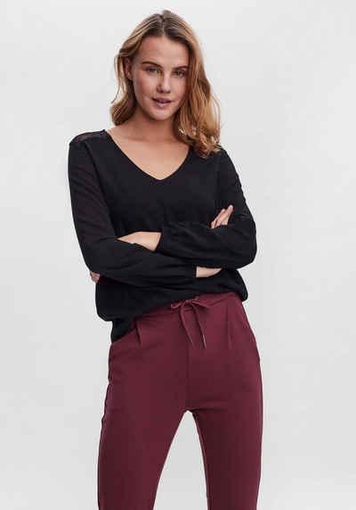 Vero Moda Shirtbluse »VMBEATRIX LACE LS V-NECK TOP«
