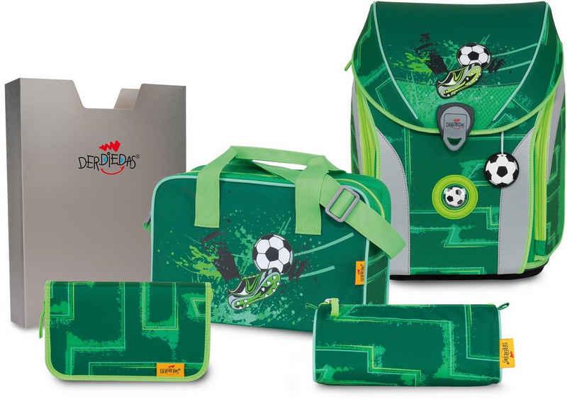 DerDieDas® Schulranzen »ErgoFlex MAX Buttons - Green Goal« (Set), mit 3 Buttons