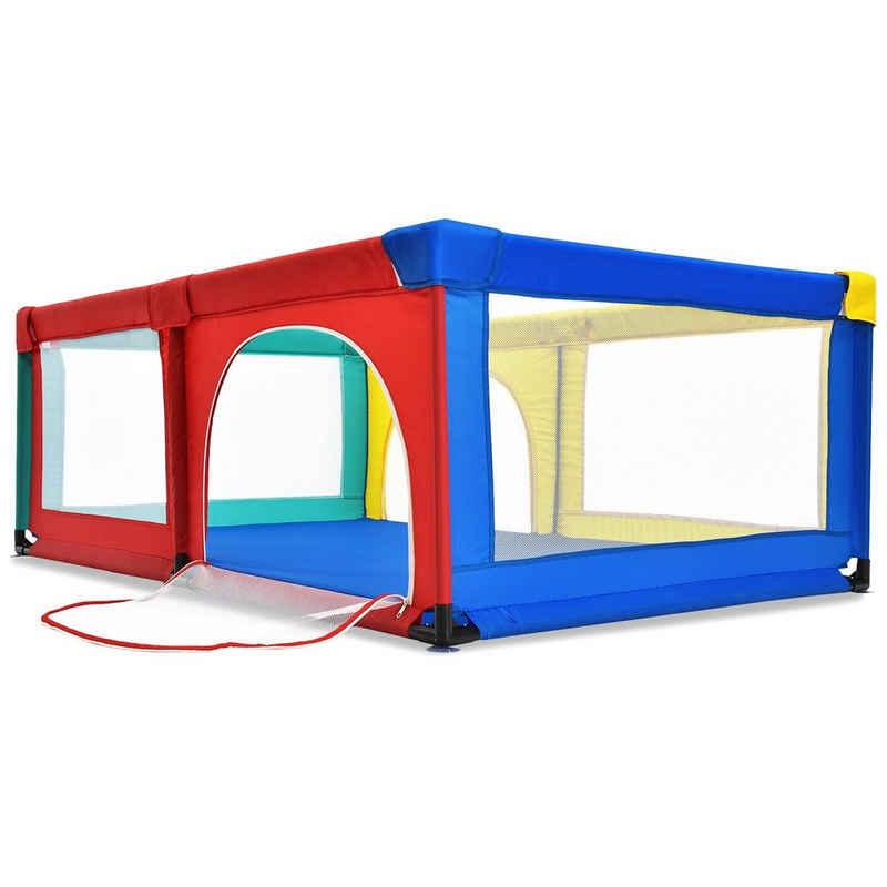 COSTWAY Laufstall »Laufgitter«, 2 Türen, mit 50 Spielbällen, atmungsaktivem Netz und Reißverschluss