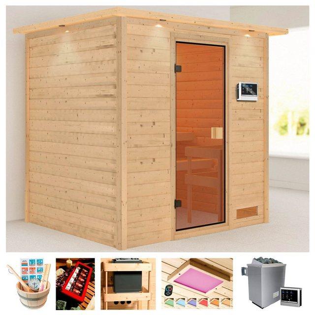 Saunen und Zubehör - KARIBU Sauna »Ricky«, 223x183x191 cm, 9 kW Ofen mit ext. Steuerung, Dachkranz  - Onlineshop OTTO
