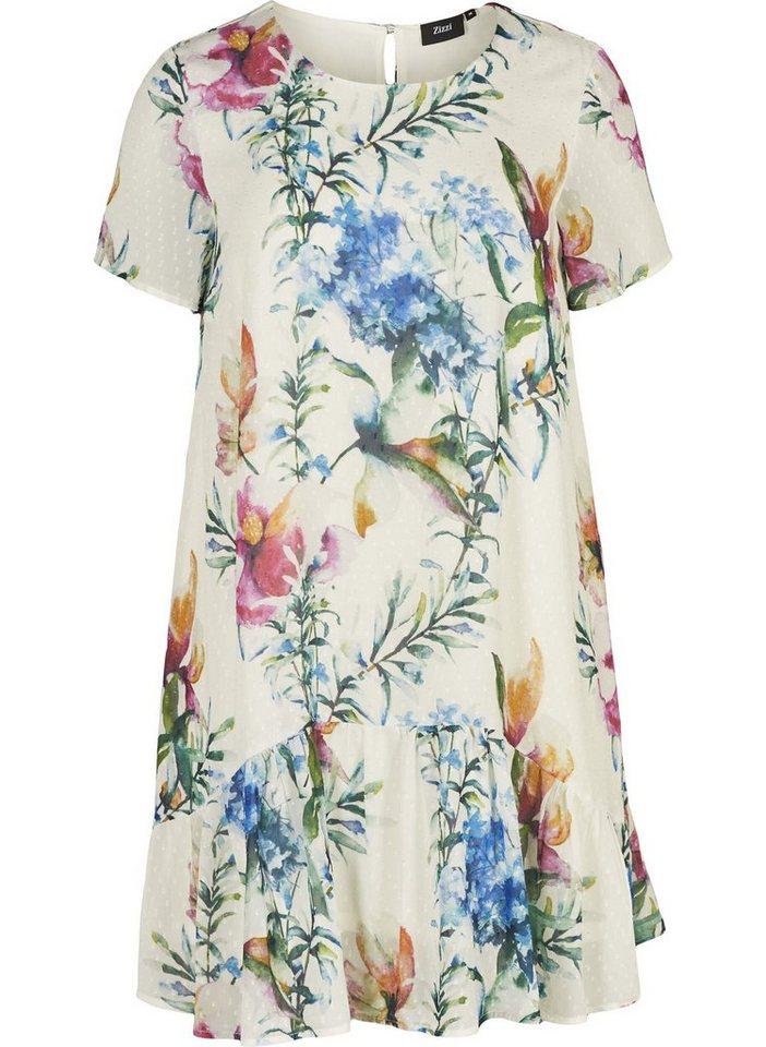 Festtagsmode - Zizzi Abendkleid Große Größen Damen Kleid mit kurzen Ärmeln und Rundhalsausschnitt ›  - Onlineshop OTTO