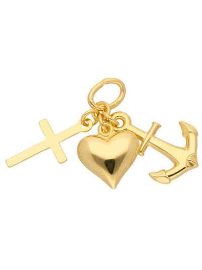 Adelia´s Kettenanhänger »585 Gold Anhänger Glaube-Liebe-Hoffnung«, Goldschmuck für Damen