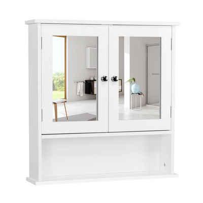 Yaheetech Hängeschrank Spiegelschrank, Badschrank mit Spiegeltür, Badezimmerspiegel mit Ablagen, 56cmx13cmx58cm, Weiß