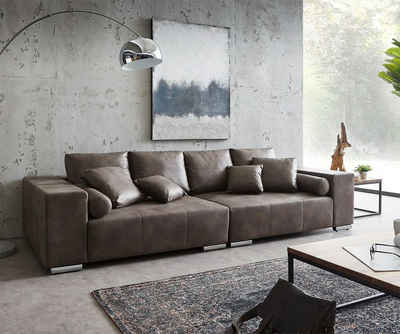 DELIFE Big-Sofa »Marbeya«, Dunkelbraun 285x115 cm mit 10 Kissen Big Sofa