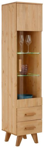 """Home affaire Vitrine »Loft« Vitrine """"Loft"""" aus Kiefer massiv, LED Beleuchtung, Breite 40 cm"""