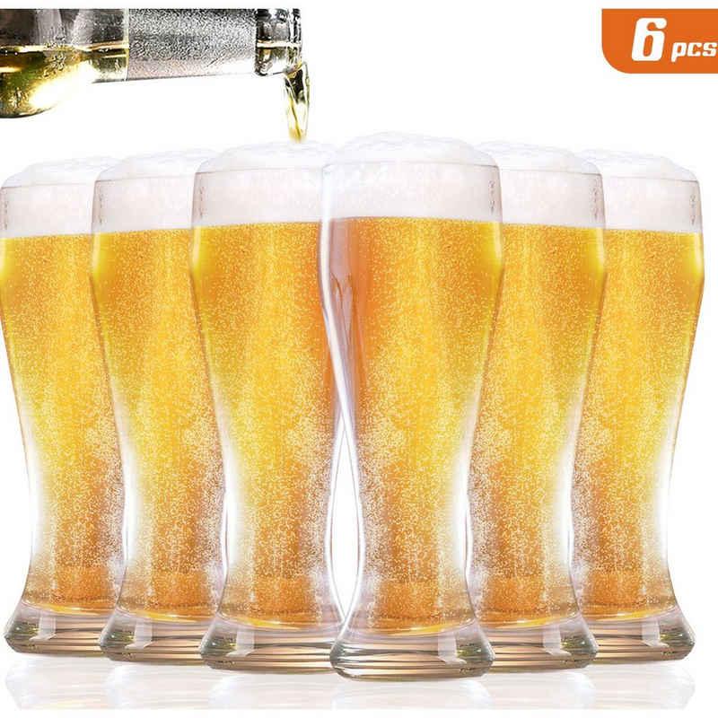 Homewit Bierglas »0,45L geeicht Hefeweizen Weizenglas Bierkrug Glas«, BleifreiesGlas, 6 Tassen