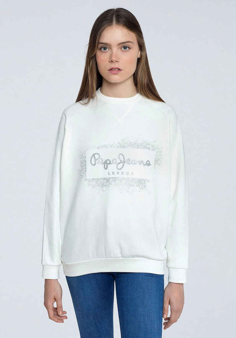 Pepe Jeans Sweater mit glitzerndem Frontprint