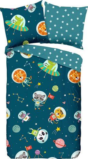 Kinderbettwäsche »Spacy«, good morning, mit niedlichen Astronauten