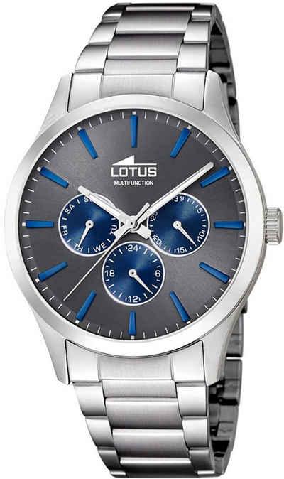 Lotus Quarzuhr »UL18575/3 Lotus Herren-Armbanduhr silber Analog«, (Analoguhr), Herren Armbanduhr rund, Edelstahlarmband silber