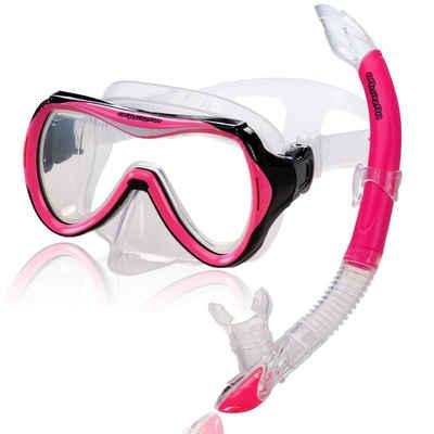 AQUAZON Taucherbrille »AQUAZON CAPRI Hochwertiges Schnorchelset, Tauchset, Schwimmset, Schnorchelbrille mit Tempered Glas, Schnorchel mit Semi Dry top für Kinder, Jugendliche Von 7-14 Jahren«