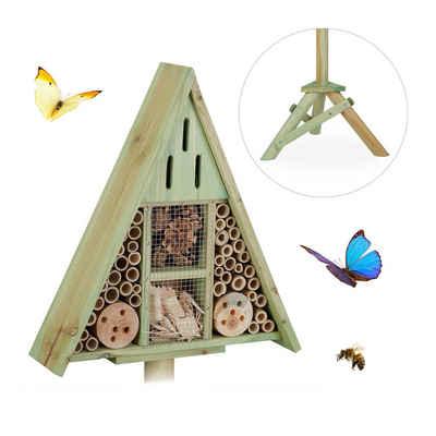 relaxdays Insektenhotel »Insektenhotel Dreieck auf Ständer«