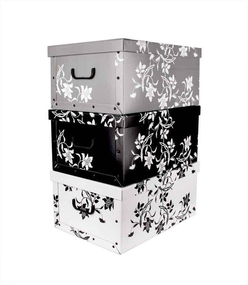 BigDean Aufbewahrungsbox »XXL 3er Set je 45 Liter − mit Deckel & Griffen − aus stabiler Pappe − verschiedene Farben im Barock−Blumenmuster − perfekt für Ordnung im ganzen Haus«