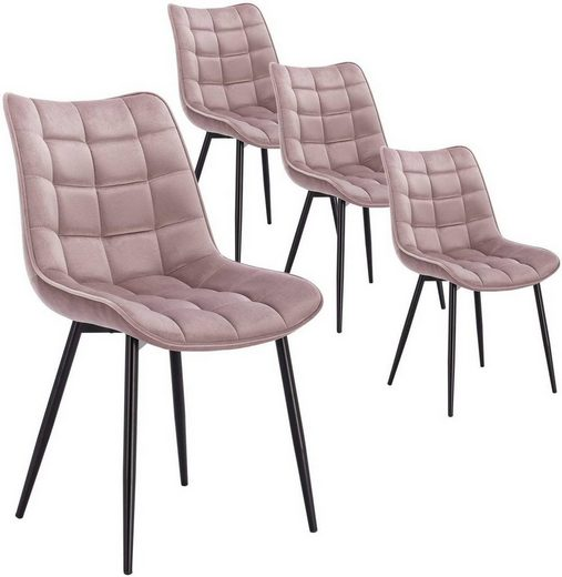 Woltu Esszimmerstuhl »BH142rs-4-MA«, 4er-Set Polsterstuhl Design Stuhl mit Rückenlehne,Sitzfläche aus Samt Gestell aus Metall Rosa