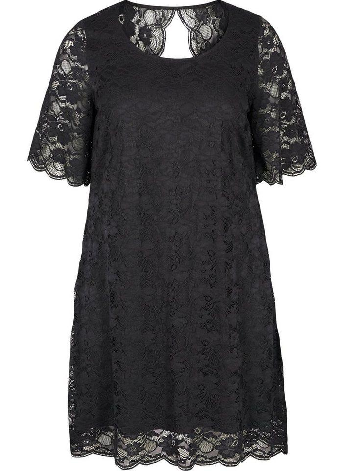Festtagsmode - Zizzi Spitzenkleid Große Größen Damen Kurzarmiges Kleid mit Rundhalsausschnitt ›  - Onlineshop OTTO