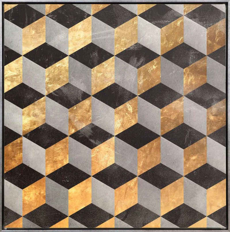 Reinders! Leinwandbild »Würfel Abstrakt in Gold - Leinwandbild«