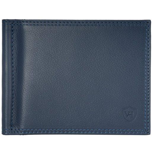 VON HEESEN Mini Geldbörse »Geldklammer mit 8 Kartenfächern (blau)«
