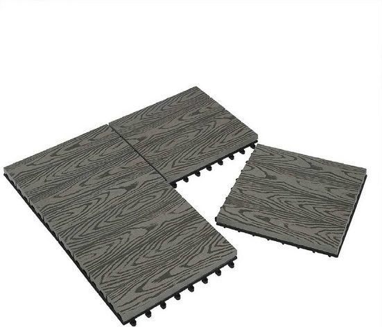 EUGAD WPC-Fliesen, WPC Fliesen Klickfliesen in Holzoptik 22 Stücke für 2m² Hellgrau