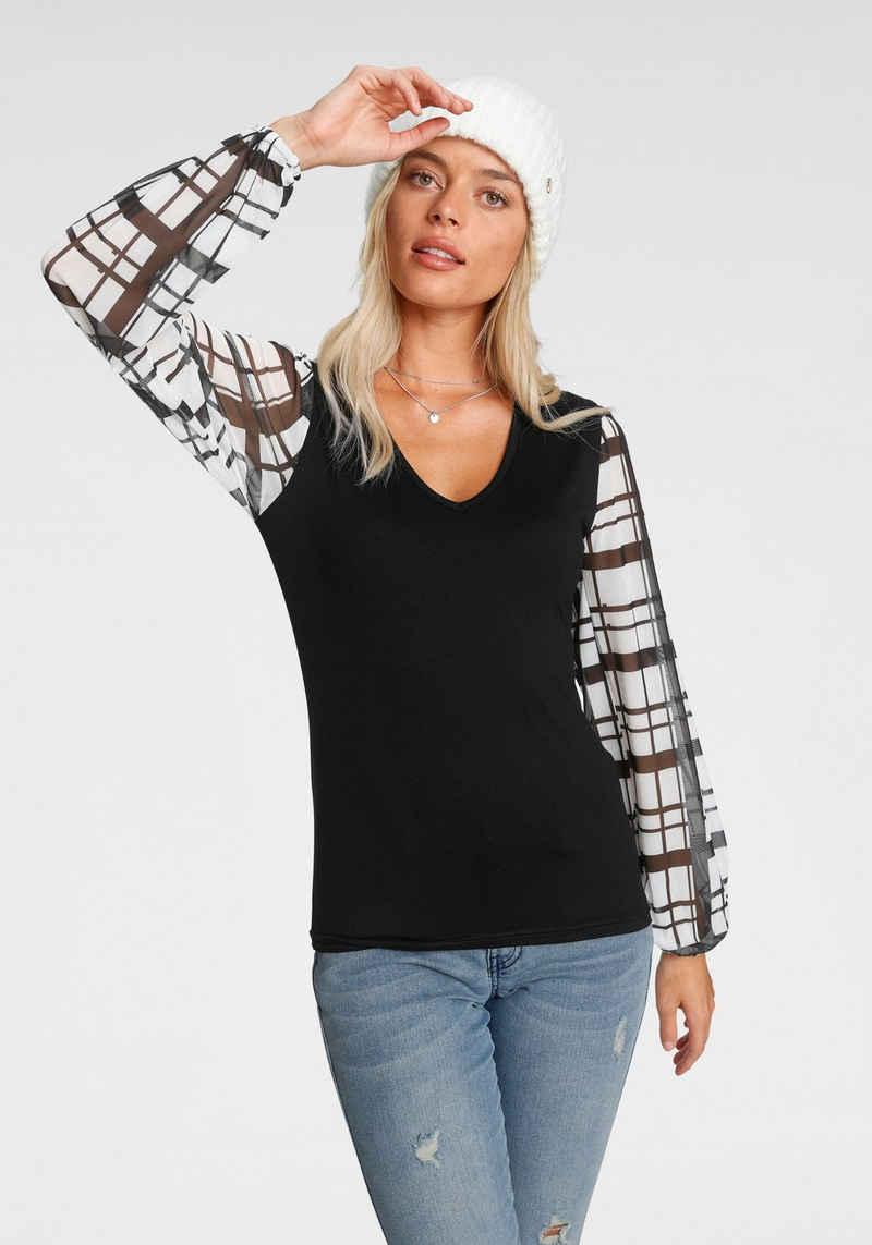 Melrose V-Shirt mit trransparenten, bedruckten Ärmeln - NEUE KOLLEKTION