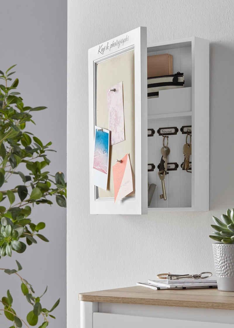 Home affaire Schlüsselkasten, mit Leinenkissen zum Anpinnen von Fotos und Notizen