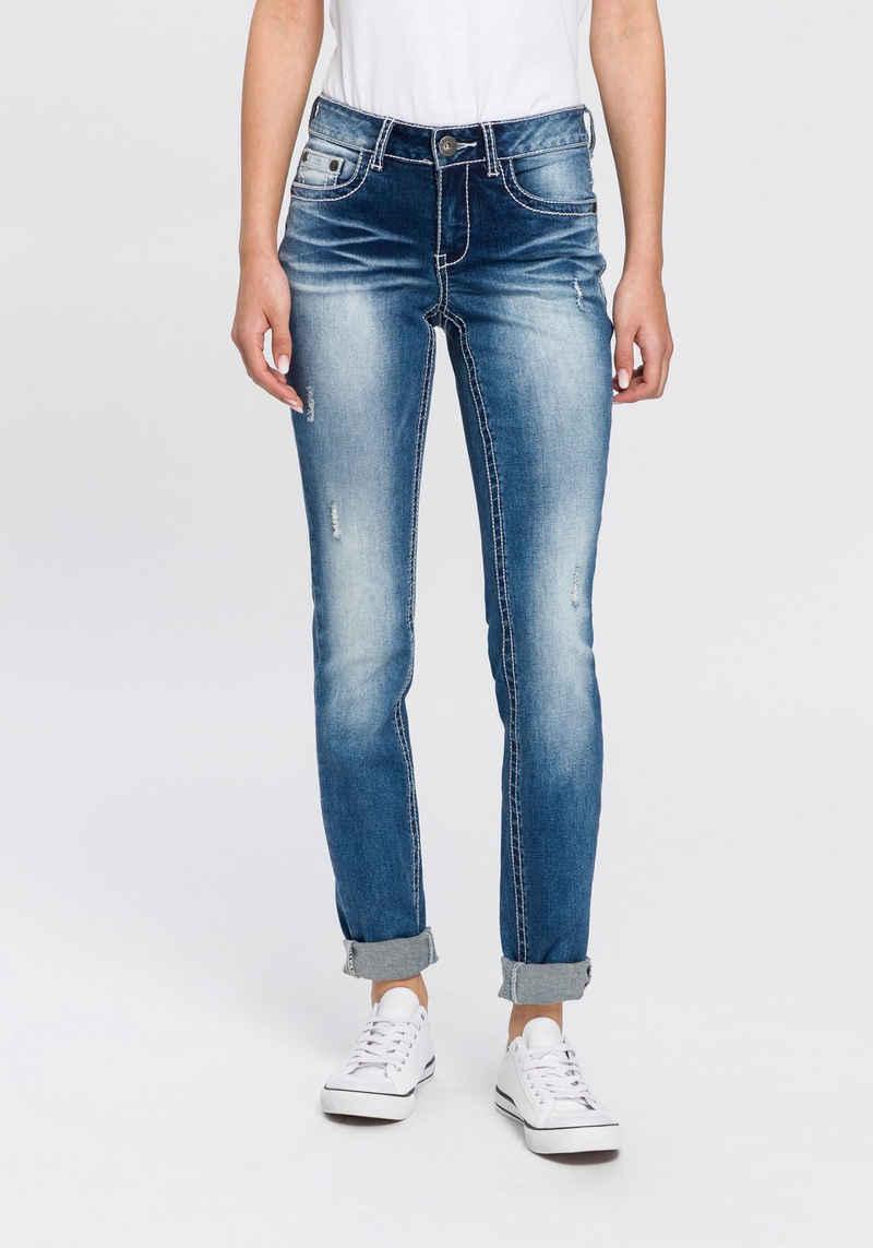 Arizona Skinny-fit-Jeans »mit Kontrastnähten und Pattentaschen« Low Waist