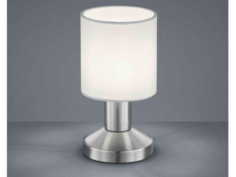 meineWunschleuchte LED Tischleuchte, Klein, Lampenschirme Stoff Weiß, Berührungs-Schalter, Lampe Fensterbank, Nachttisch-Lampe mit Touch-Schalter, Stecker