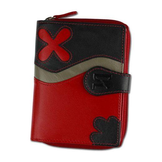 DrachenLeder Geldbörse »OPS101X DrachenLeder Geldbörse Brieftasche« (Portemonnaie), Damen, Jugend Portemonnaie Echtleder, rot, schwarz ca. 9cm x ca. 12cm
