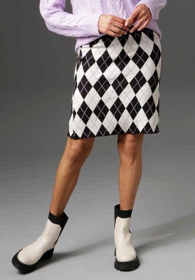 Aniston CASUAL Strickrock mit Rauten-Muster - NEUE KOLLEKTION