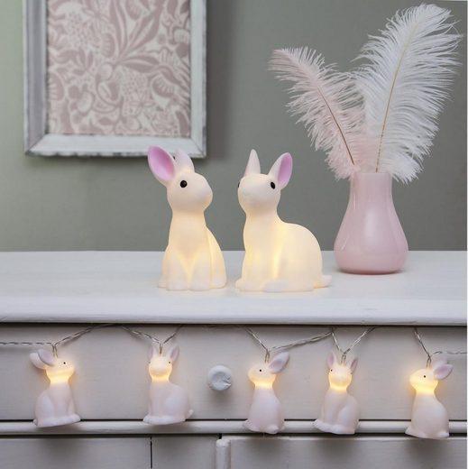 STAR TRADING LED-Lichterkette »LED Lichterkette Bunny - 10 weiße Häschen mit warmweißen LED - 1,35m - Batterie - Timer«, 10-flammig