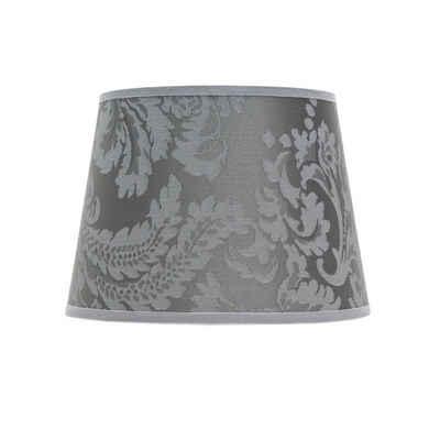 Licht-Erlebnisse Lampenschirm »WILLOW«, Lampenschirm Klein Stoff Silber Barock Muster Nachttisch Lampe