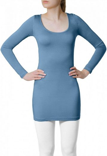 Caspar Langarmshirt »MUSE SRT012 langes Damen Basic Shirt«