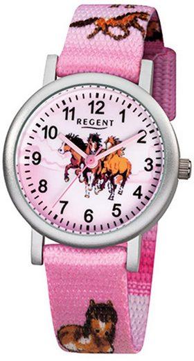 Regent Quarzuhr »URF729 Regent Kinder-Armbanduhr rosa Analog F-729«, (Analoguhr), Kinder Armbanduhr rund, klein (ca. 29mm), Aluminium, Elegant