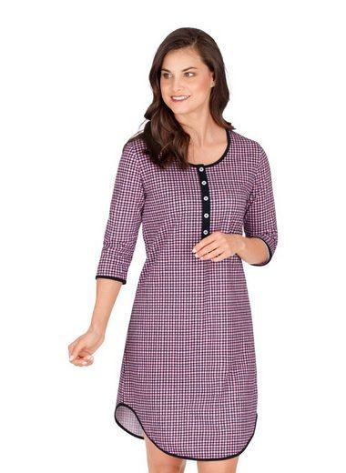 Trigema Nachthemd mit Karo-Muster und Knopfleiste