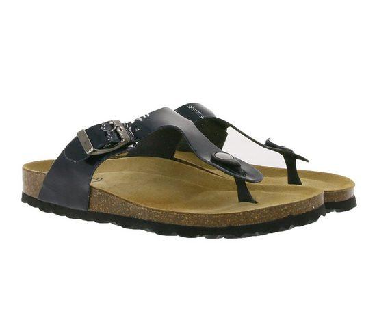 thies »thies Haus-Schuhe gemütliche Damen Zehentrenner aus Lacklederimitat Latschen Schwarz« Hausschuh
