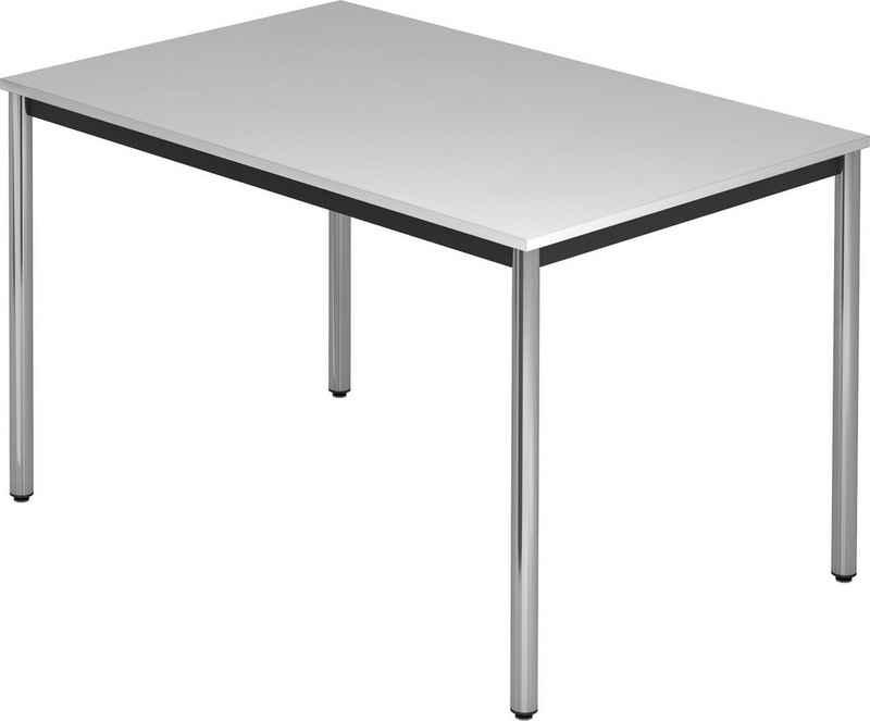 bümö Konferenztisch »OM-DR12-C«, Meetingtisch & Besprechungstisch System - Rechteck: 120 x 80 cm - Gestell: Chrom, Dekor: Grau
