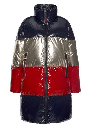 TOMMY HILFIGER Steppmantel »COLORBLOCK DOWN MAXI« in metalicfarbenem Colorblocking-Streifen