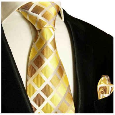 Paul Malone Krawatte »Herren Seidenkrawatte mit Tuch modern kariert 100% Seide« (Set, 2-St., Krawatte mit Einstecktuch) Schmal (6cm), gold braun 484