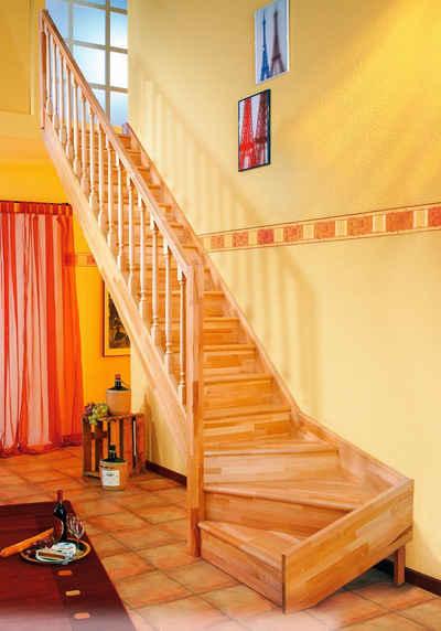Dolle Raumspartreppe »Paris«, für Geschosshöhen bis 318 cm, Stufen geschlossen, Buche, versch. Ausführungen
