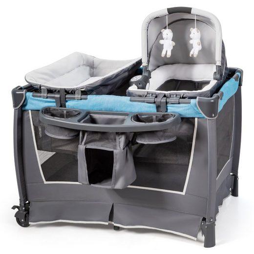 COSTWAY Baby-Reisebett »4 in 1 klappbares Reisebett & Wickeltisch & Laufstall & Babywiege«, mit Schaukelfunktion