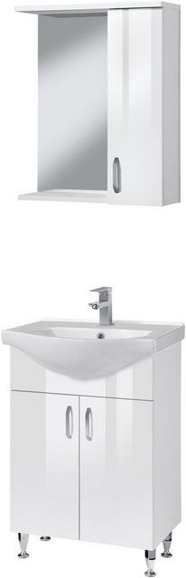 Badezimmer Sets - Badmöbel Set »Duru«, (3 tlg), Premium Waschtisch und Spiegelschrank, Breite 55 cm  - Onlineshop OTTO