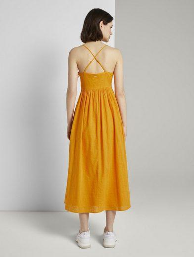 TOM TAILOR Denim Sommerkleid »Midi Kleid mit Knoten-Detail«