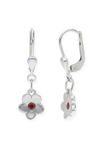 JuwelmaLux Paar Ohrhänger »Kinderohrringe Blume in Silber mit synth. Rubin«