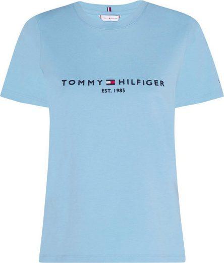 TOMMY HILFIGER Rundhalsshirt »NEW TH ESS HILFIGER C-NK TEE SS« mit gesticktem Tommy Hilfiger Linear Logo-Schriftzug