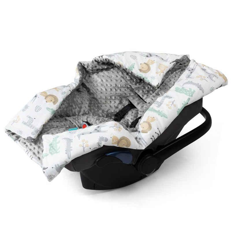 Einschlagdecke, Navaris, Decke für Babyschale - universal Baby Decke für u.a. Maxi Cosi Römer Cybex Autositz - Kinderwagen Fußsack - Tierwelt Design