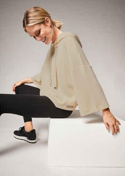 comma casual identity 3/4-Arm-Shirt »Lockeres Sweatshirt aus Scuba« (1-tlg) Label-Patch