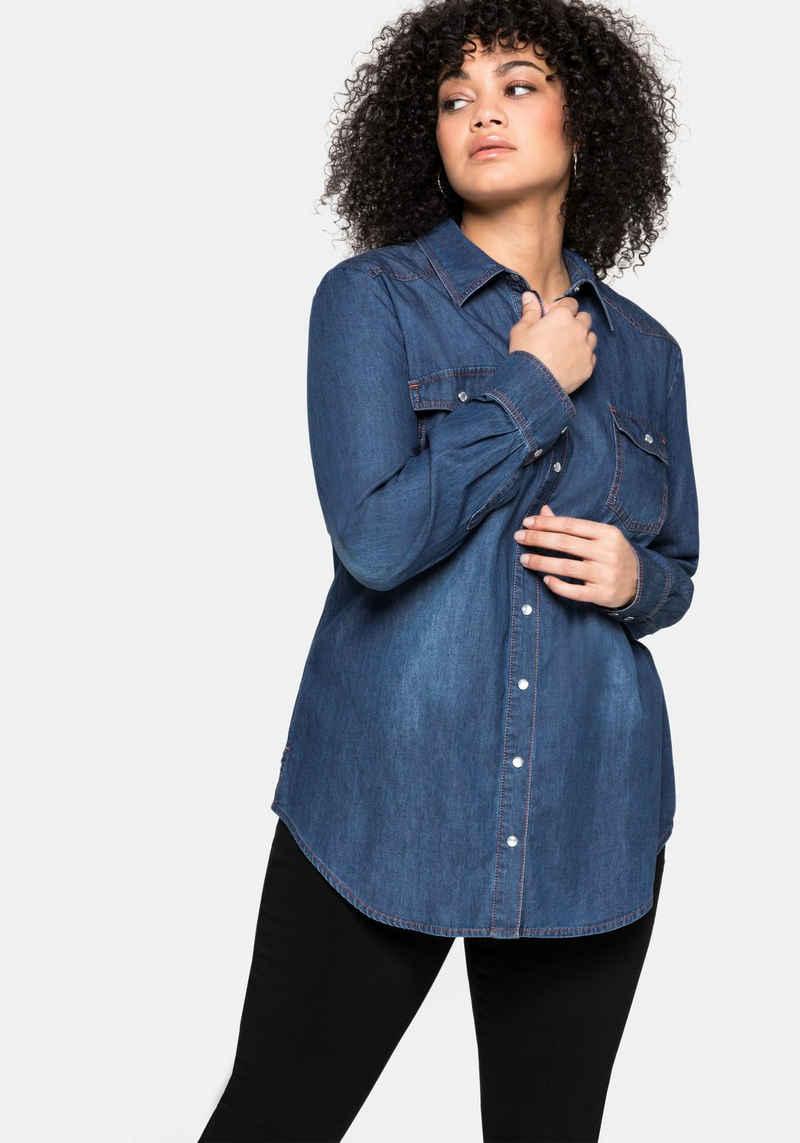 Sheego Jeansbluse aus reiner Baumwolle