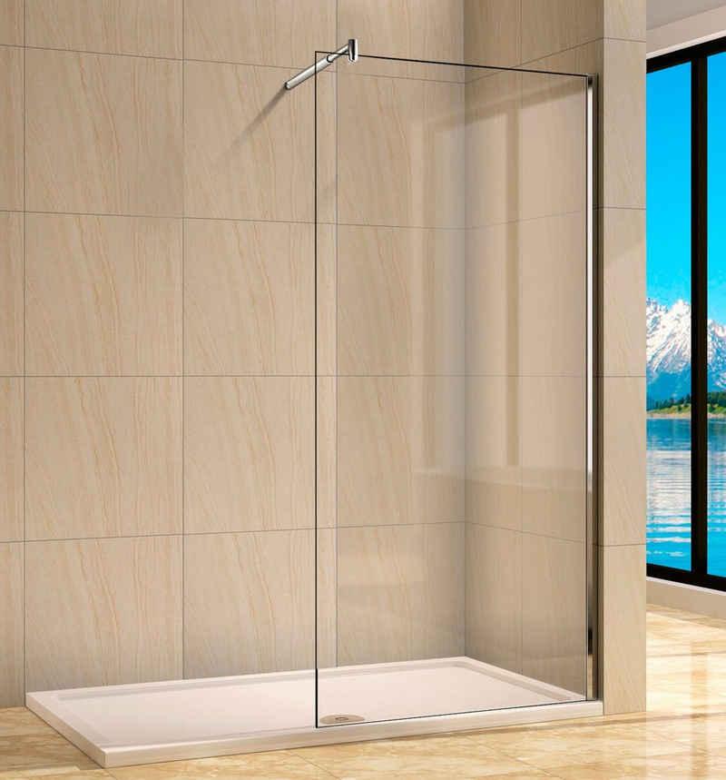 welltime Walk-in-Dusche »Rom«, Einscheibensicherheitsglas, Duschabtrennung erhältlich in 4 verschiedenen Breiten (80-120cm)