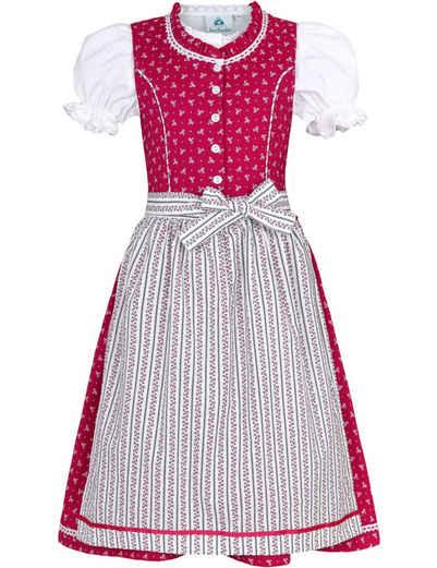 """Isar-Trachten Dirndl »""""Julienne"""" 3-tlg. mit Bluse 52414 - Pink, Kinder Mädchen Trachtenkleid Baumwolle«"""